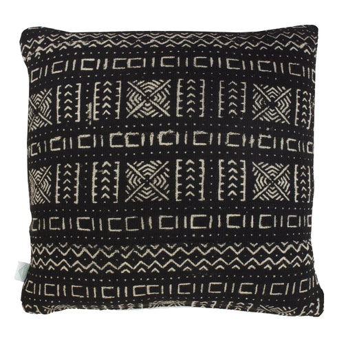 Black Little River Mudcloth Cushion