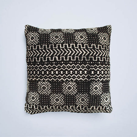 White Chevron Mudcloth Cushion