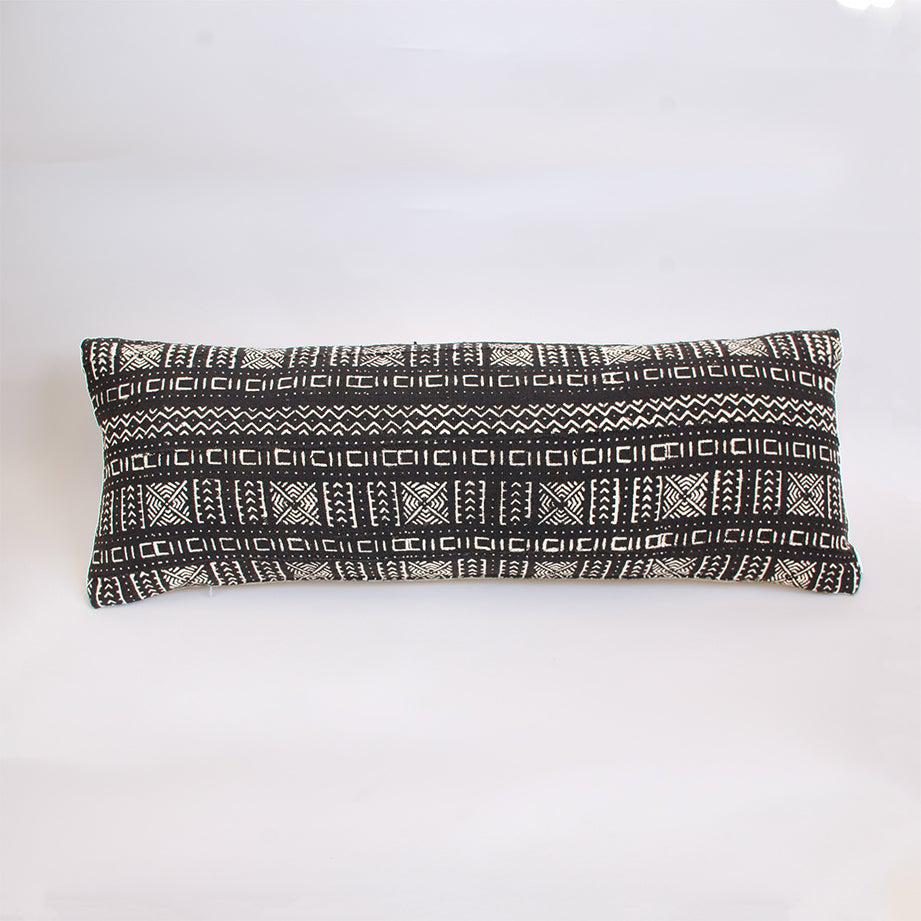 black mudcloth lumbar cushion nomad design