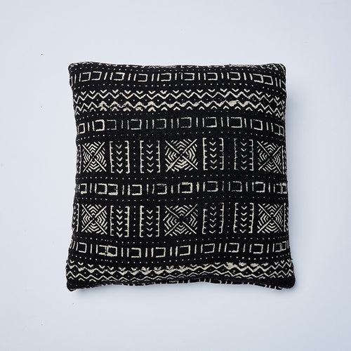 black little river mudcloth cushion by nomad design