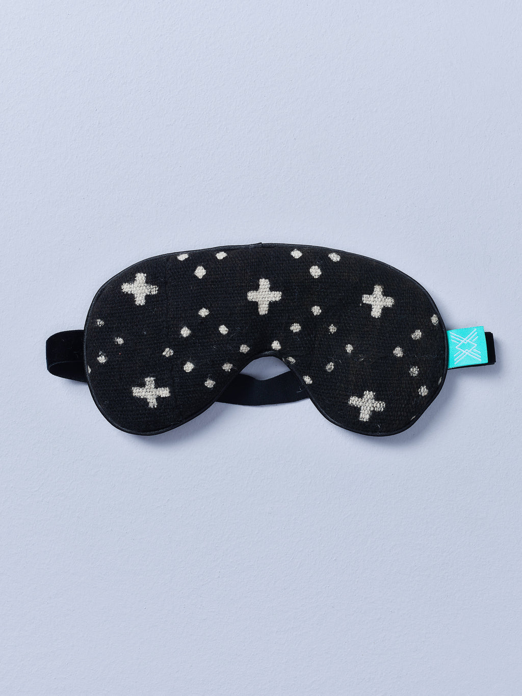 Black Mudcloth Eye Mask with Lavender