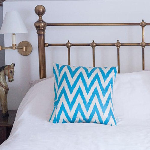 Electric Blue Frankie Ikat Cushion