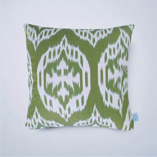 green kismet ikat cushion nomad design england