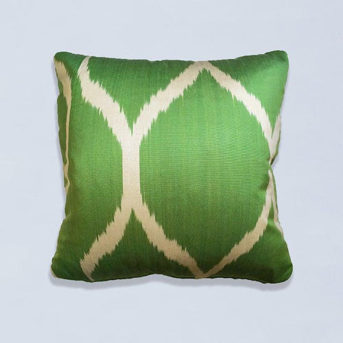 Green Sophie Silk Ikat Cushion