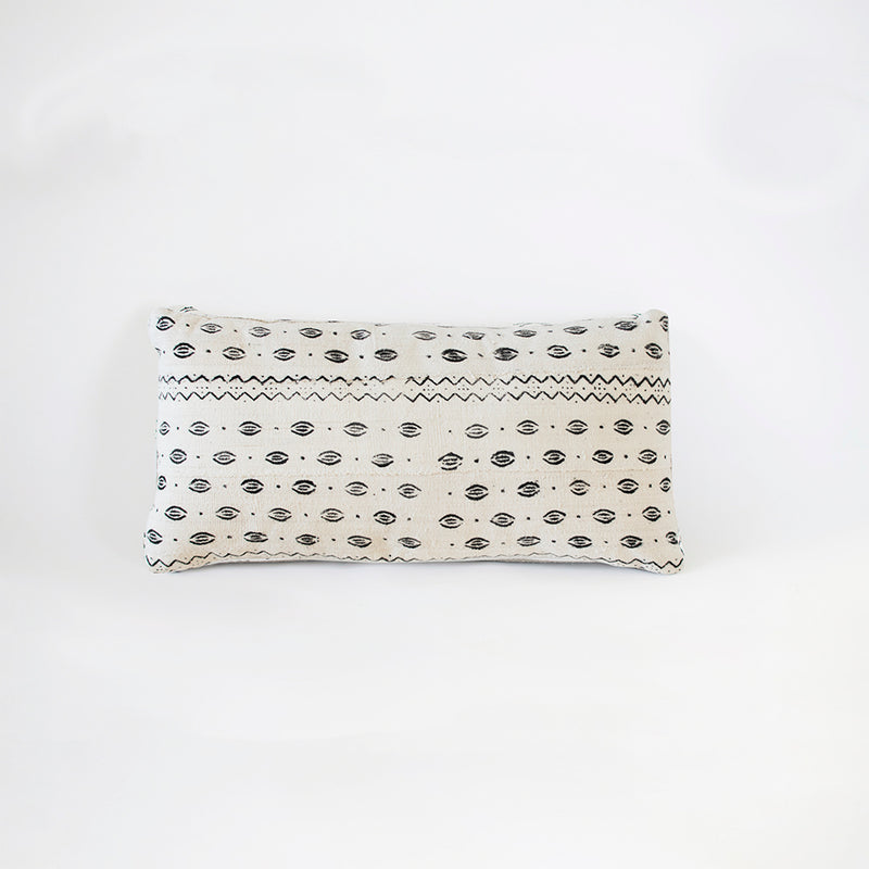 White Hot Lips Mudcloth Lumbar Cushion