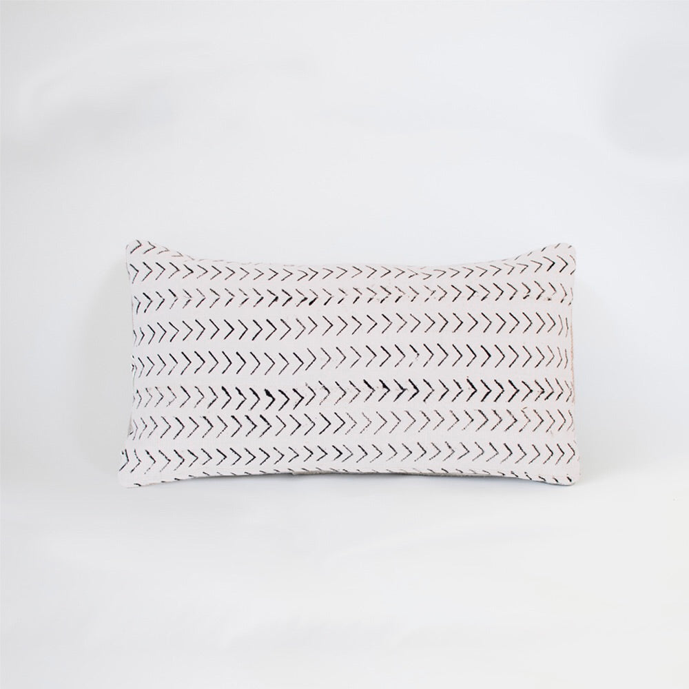 white chevron mudcloth lumbar cushion by nomad design