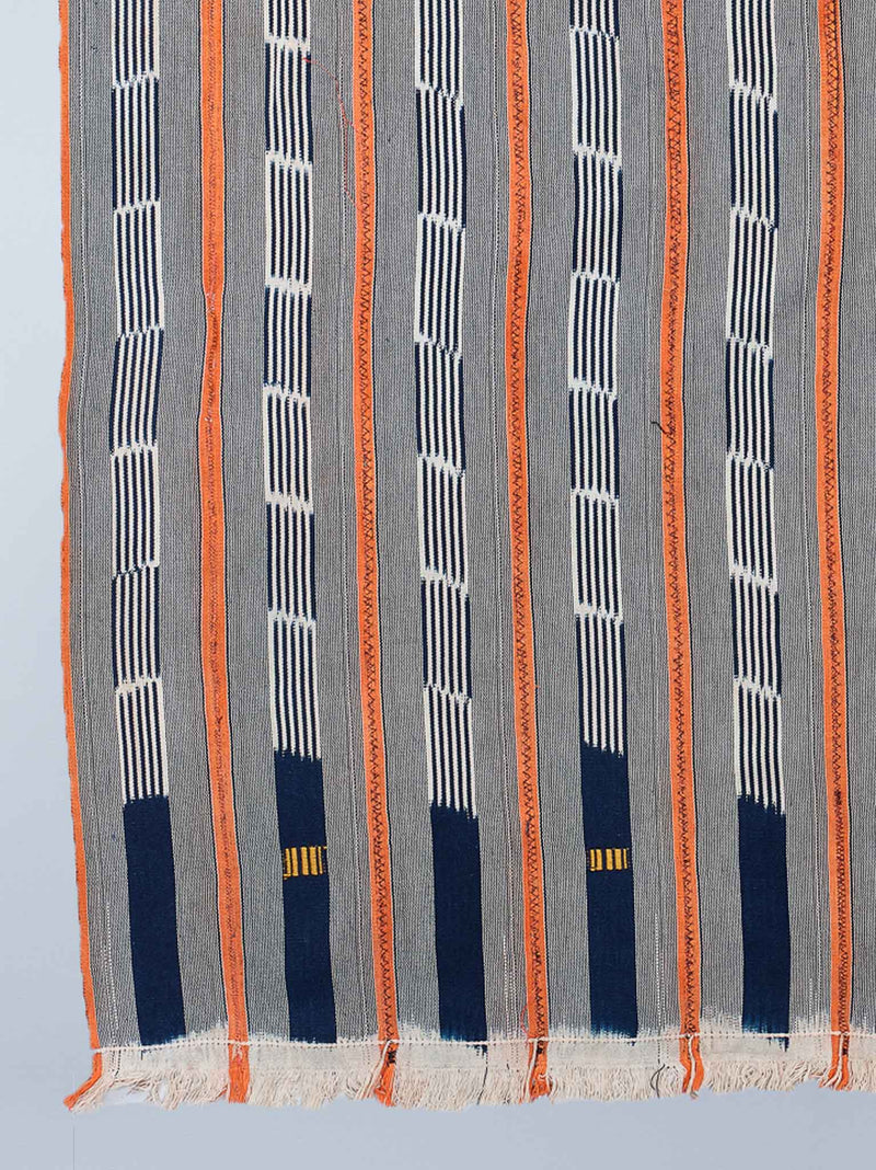 Indigo and Tangerine Baulé Ikat Cloth