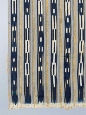indigo white and yellow baulé ikat cloth detail shot nomad design