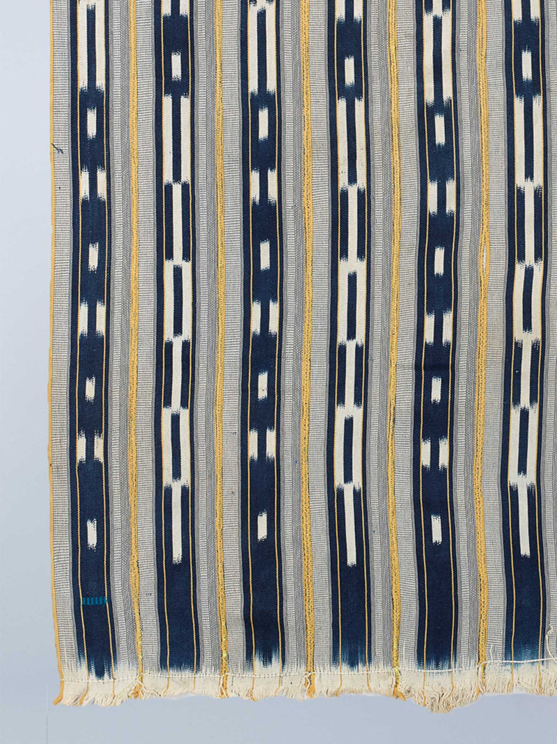 indigo white and yellow baulé ikat cloth nomad design