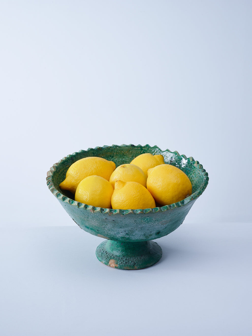 large green tamegroute fruit bowl with lemons nomad design