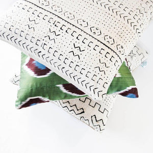 white huntress mudcloth cushion nomad design