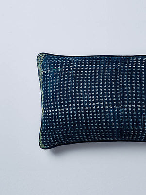 nigerian indigo lumbar cushion detail nomad design