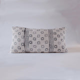 White Tetris Mudcloth Lumbar Cushion Nomad Design