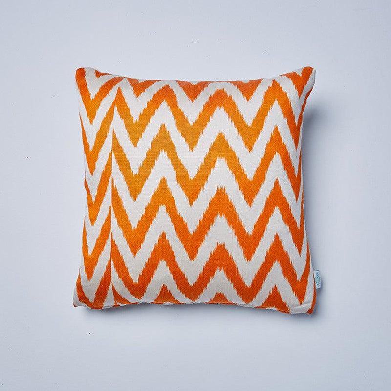 Orange Frankie Silk Ikat Cushion