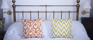 lime frankie silk ikat cushion cover by nomad design