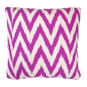 Raspberry Frankie Ikat Cushion