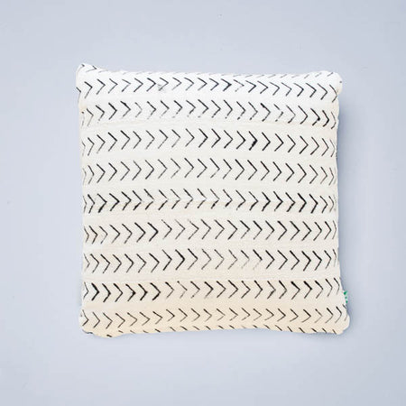 White Tetris Mudcloth Lumbar Cushion
