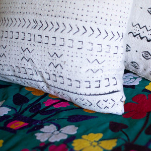white huntress mudcloth cushion by nomad design