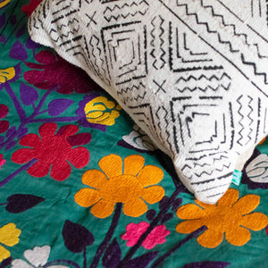 white peonies mudcloth cushion by nomad design