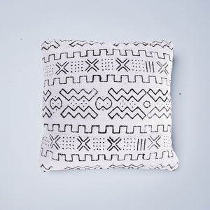 white stars mudcloth cushion nomad design