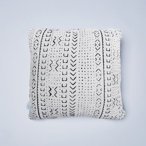 White Huntress Mudcloth Cushion