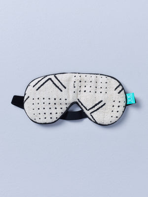 White Mudcloth Eye Mask with Lavender