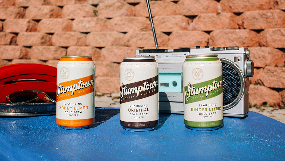 Stumptown Sparkling Cold Brew cans with three different flavours