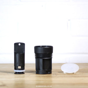 The ROK Conversion Kit has four parts: glass composite plunger, glass composite water cylinder, silicone filter, and o-ring