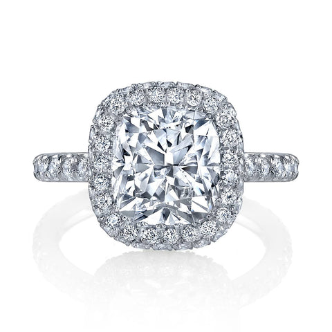 Halo diamond engagement ring white gold