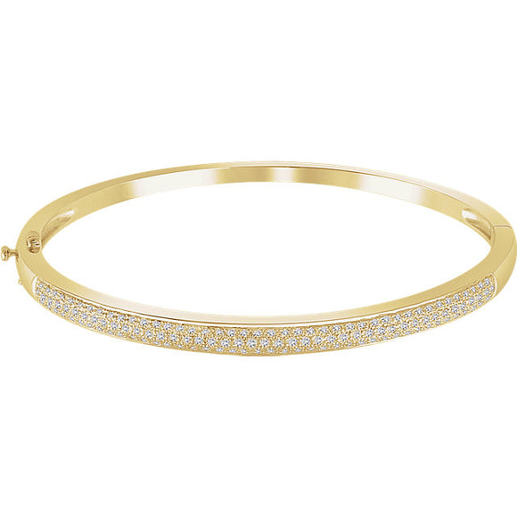 Three-Row Diamond Pavé Bangle Bracelet