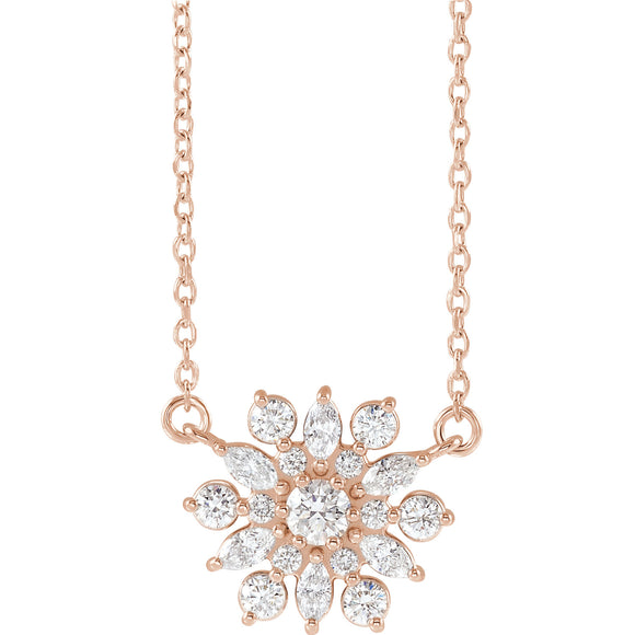 Vintage Flower Diamond Necklace