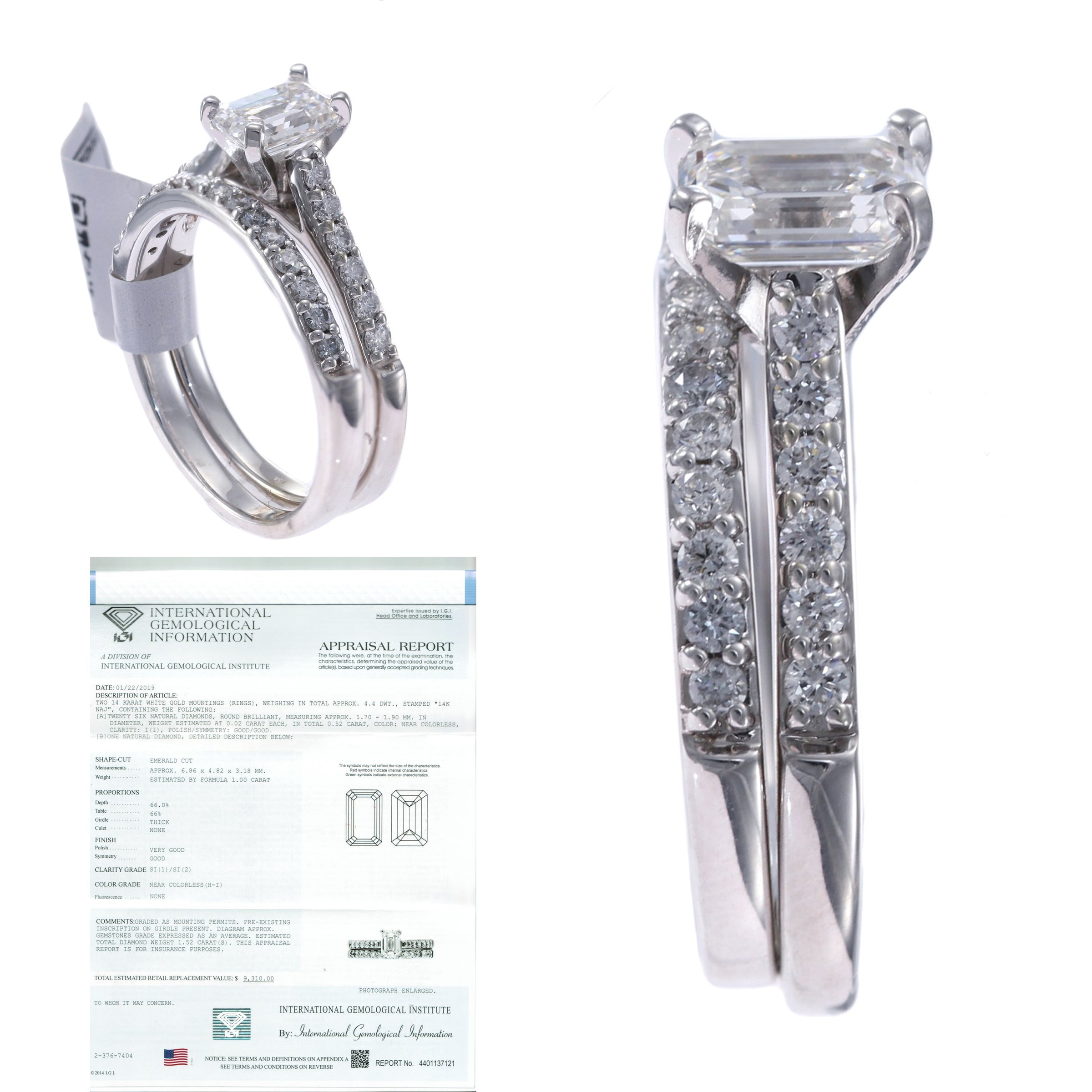 This is a photo of 38.38CTW Emerald Cut Diamond Engagement Ring Wedding Band Set 384k White Gold H/SI