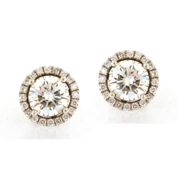 Diamond Stud Earrings with Removable Round Halos (2.16 carats)