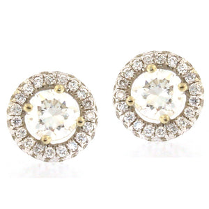 Diamond Stud Earrings in Two-Sided Round Halo (1.1 carats)