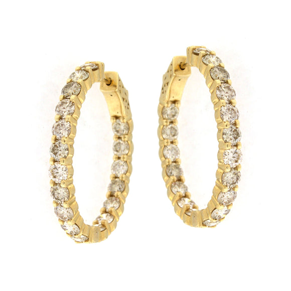 Yellow Gold Inside-Out Hoop Earrings (5.8 ctw)
