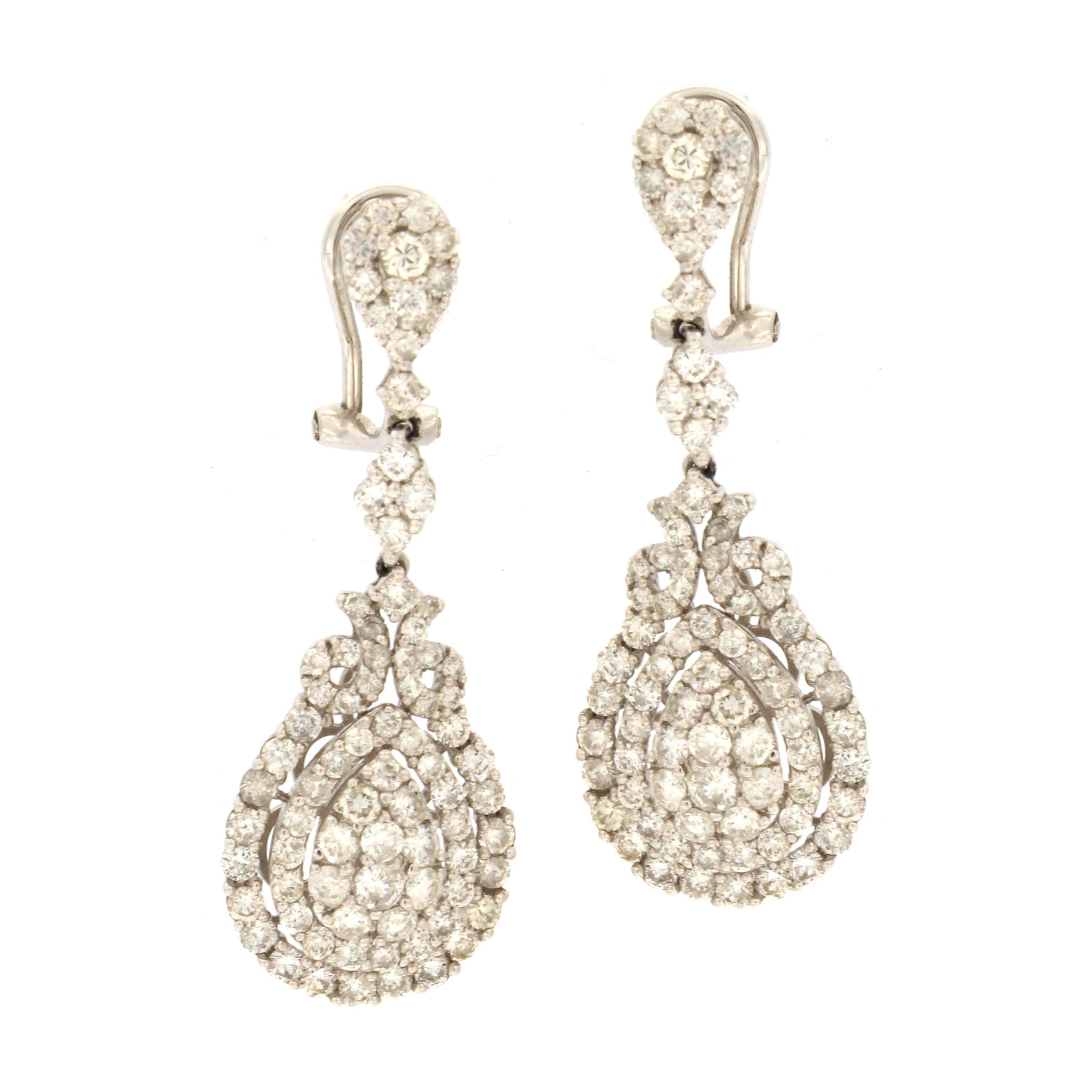 drop shaped platinum diamond pear uneek earrings cluster product