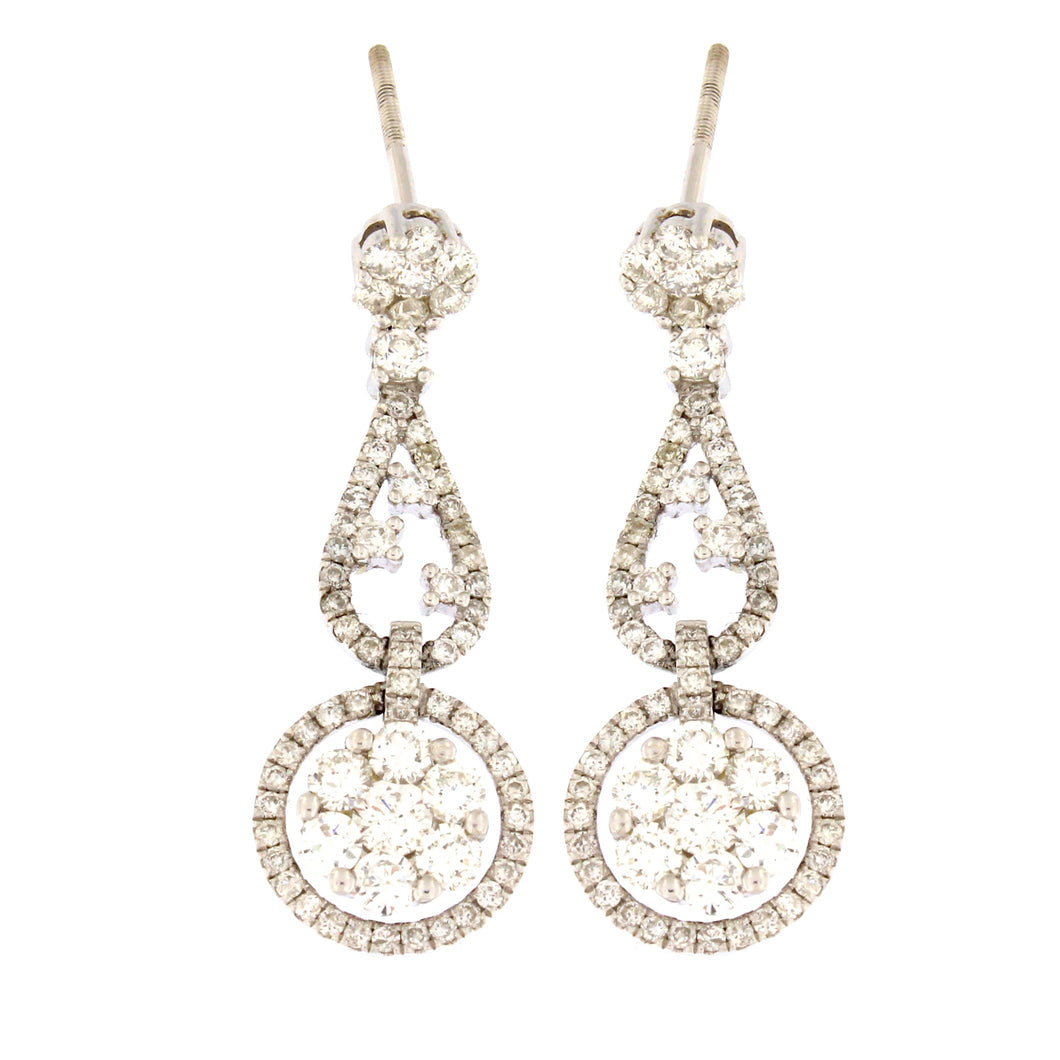 Flower Drop Diamond Earrings