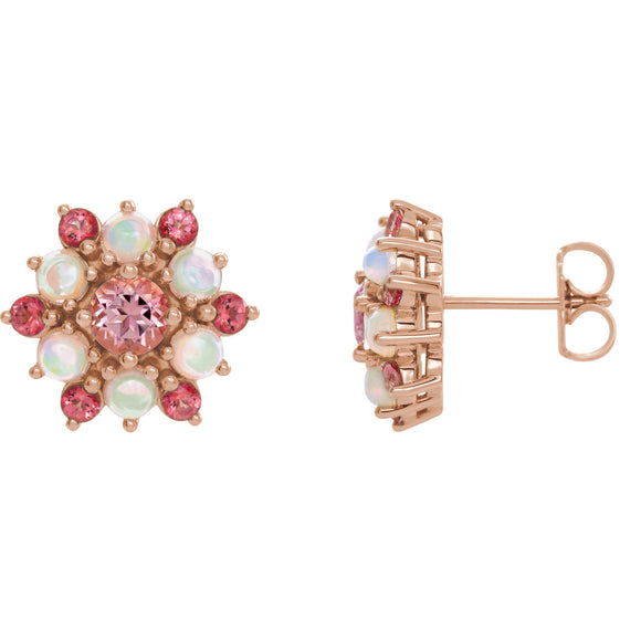 Rose Pink Topaz & Opal Cabochon Flower Earrings