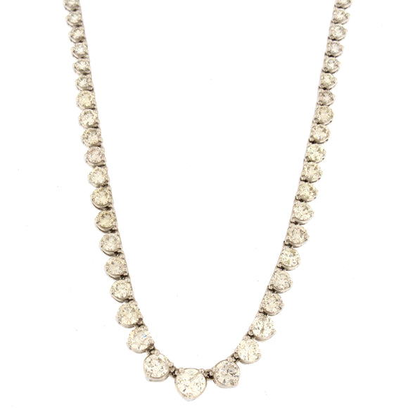 Graduating Tennis Necklace White Gold (7.7 ctw)