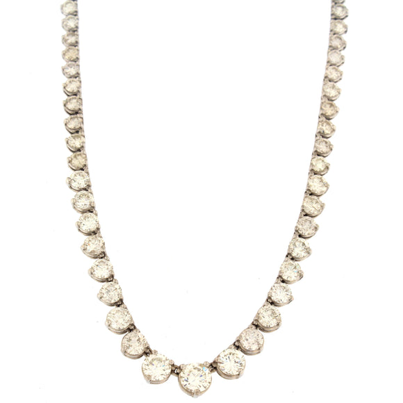 Graduating Tennis Necklace White Gold (12.82 ctw)
