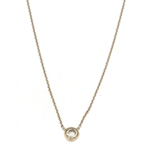 Single Diamond Bezel Necklace White Gold (.25 ctw)