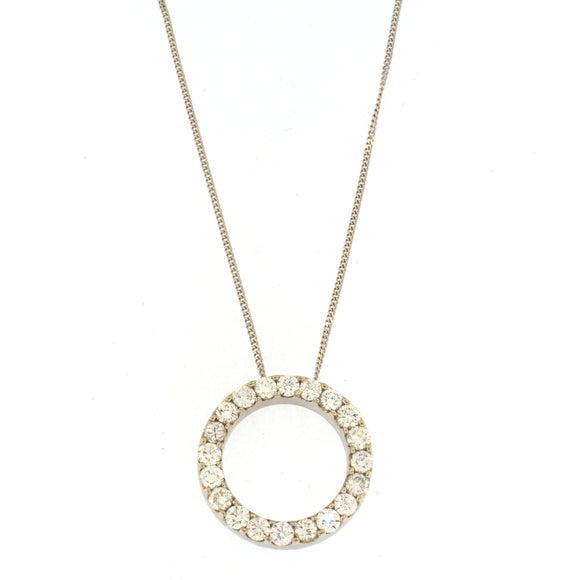 Thick Open Circle Diamond Necklace
