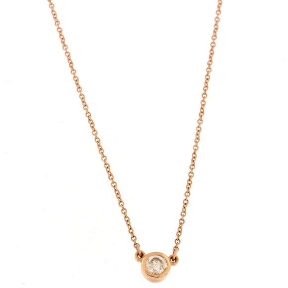 Single Diamond Bezel Necklace Rose Gold (.26 ctw)