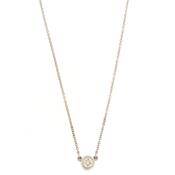 Single Diamond Bezel Necklace White Gold (.26 ctw)