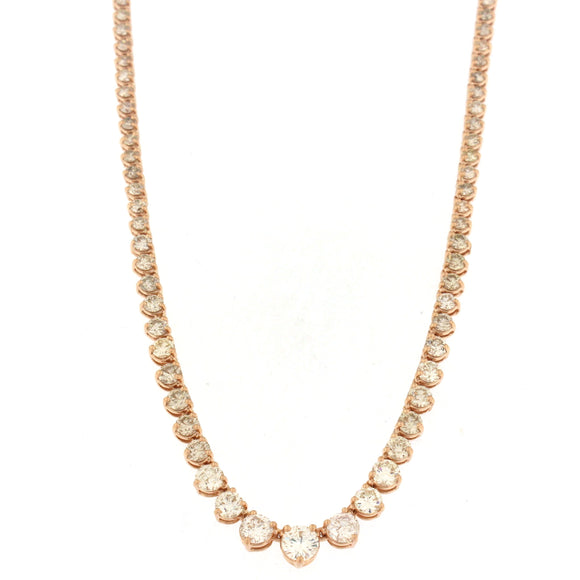Graduating Tennis Necklace Rose Gold (7.7 ctw)