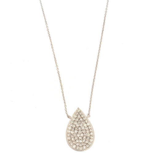 White gold diamond pave cluster diamond pear shaped necklace