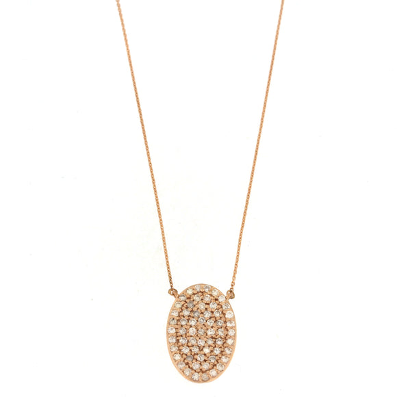 Pavé Oval Rose Gold Diamond Necklace