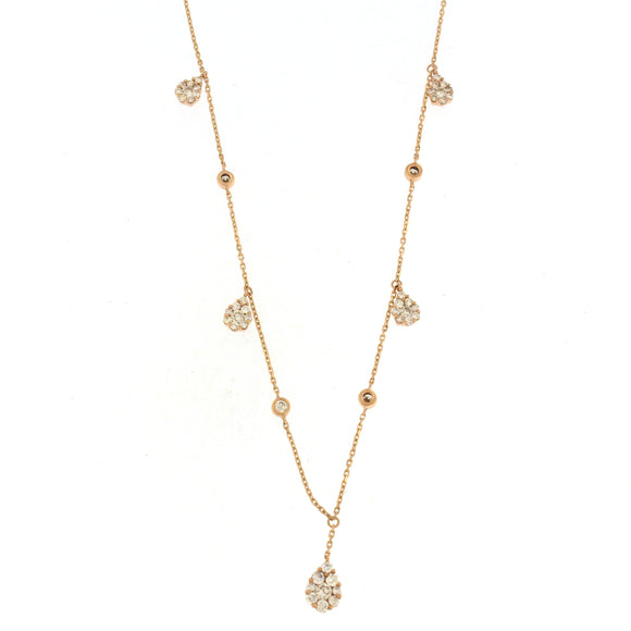 Diamond by the Yard Flower Necklace Rose Gold