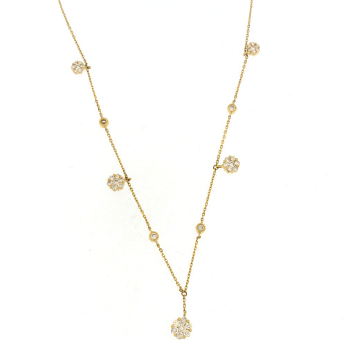 Diamond by the Yard Flower Necklace Yellow Gold