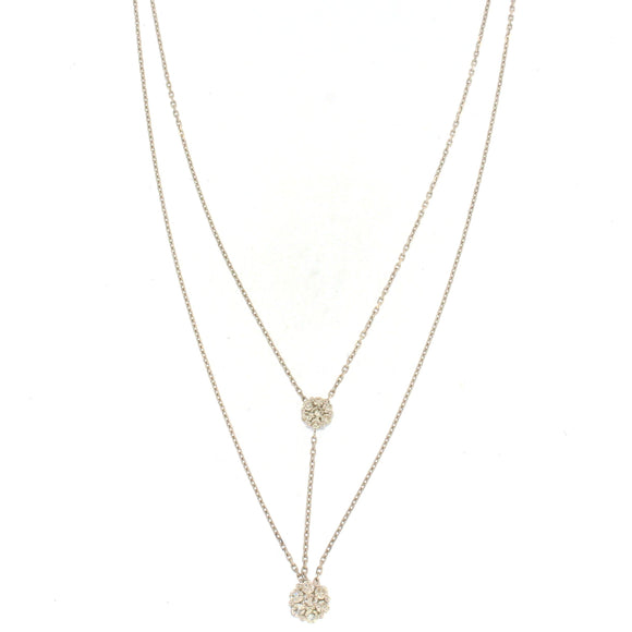 Double Drop Flower Diamond Necklace